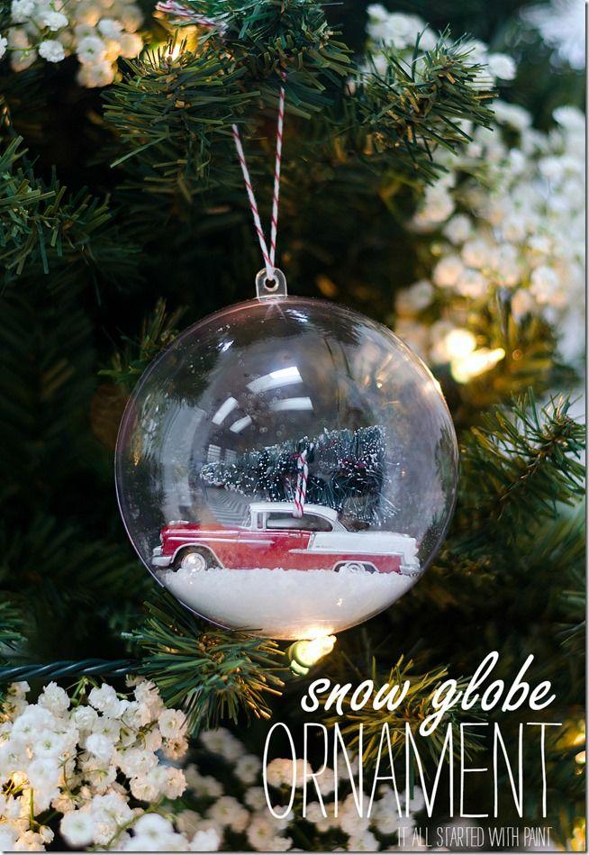 DIY snow globe ornament car with bottle