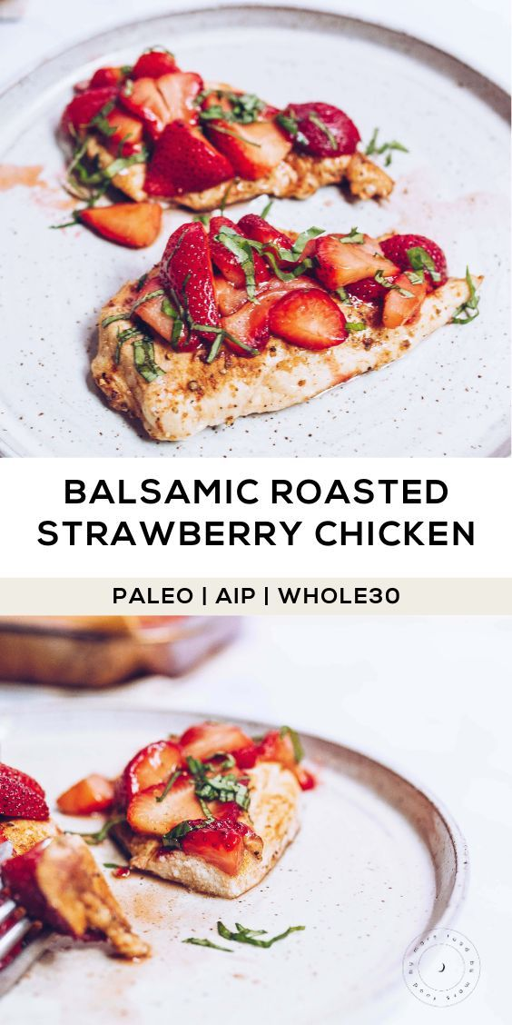 Photo of Balsamic Roasted Strawberry Chicken (AIP, Paleo, Whole30)