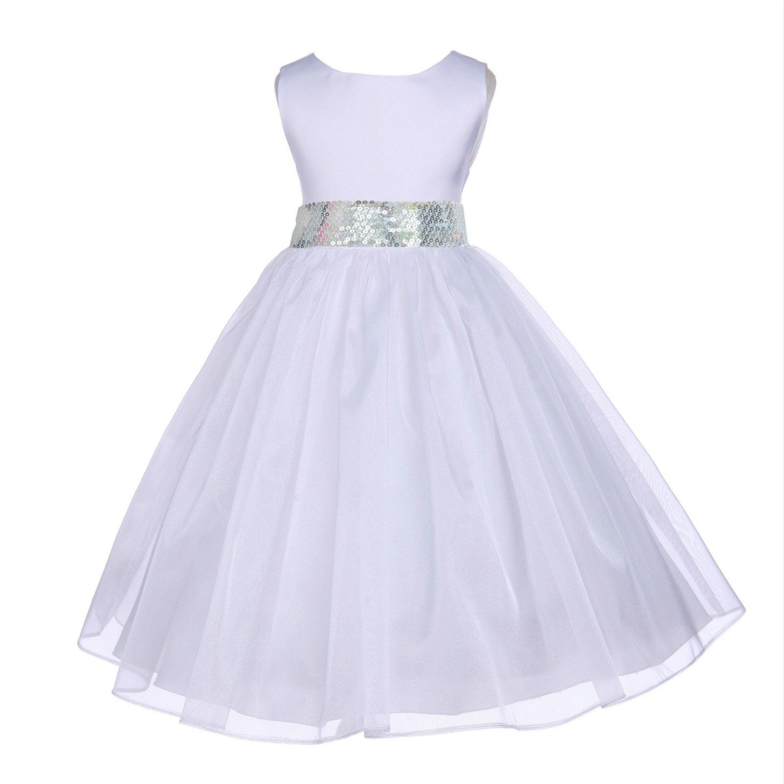463c95ee7e6 White Organza Sequin Sash Flower Girl Dress Receptions Bridal Beauty  Pageant Special Occasions 841mh