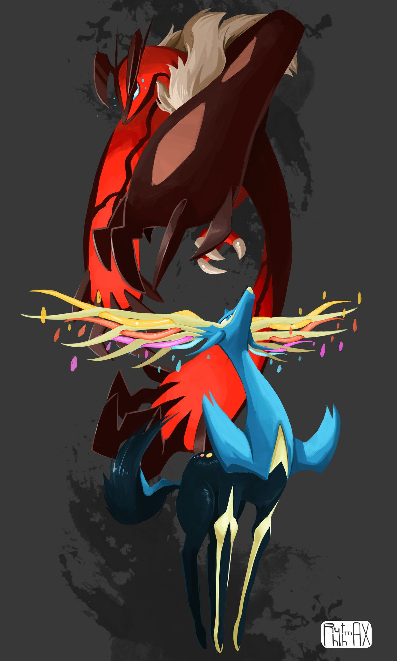 Yveltal and Xerneas! What an awesome drawing! :)   Pokemon ...