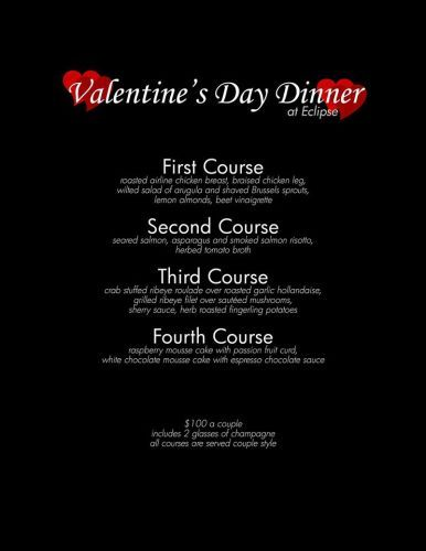 need a way to impress your significant other wine and dine them at the eclipse eclipse restaurantrestaurant specialsdinner - Valentine Dinner Specials