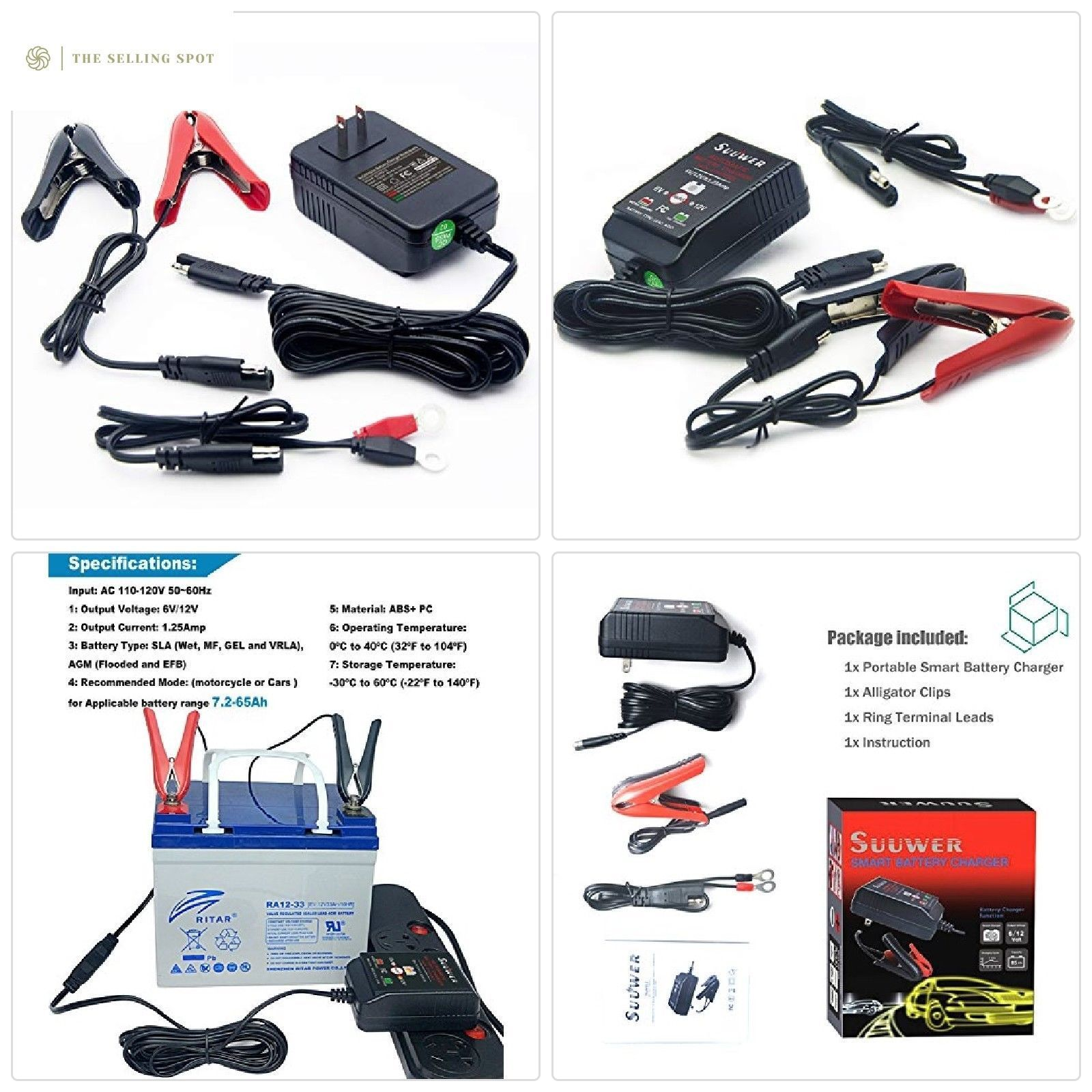 Suuwer 12V Smart Battery Charger / Trickle Chargers / For