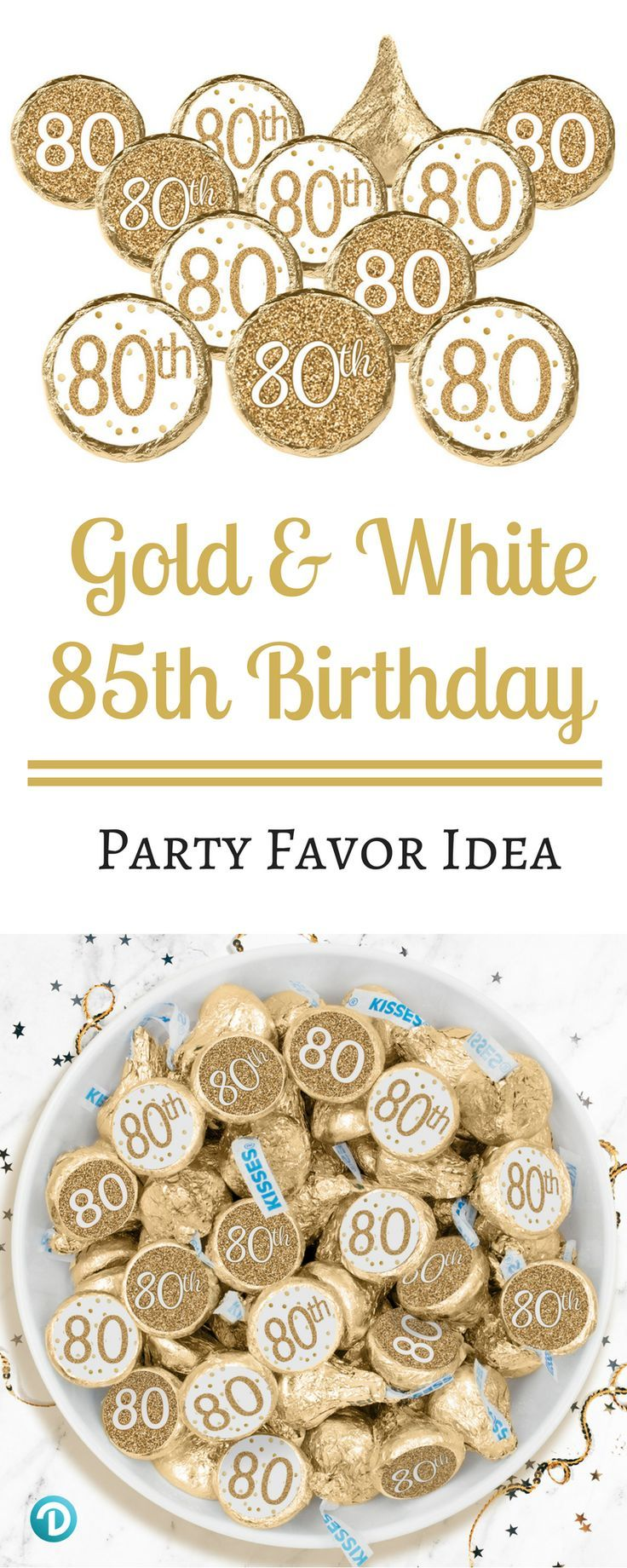 White And Gold 80th Birthday Party Favor Stickers