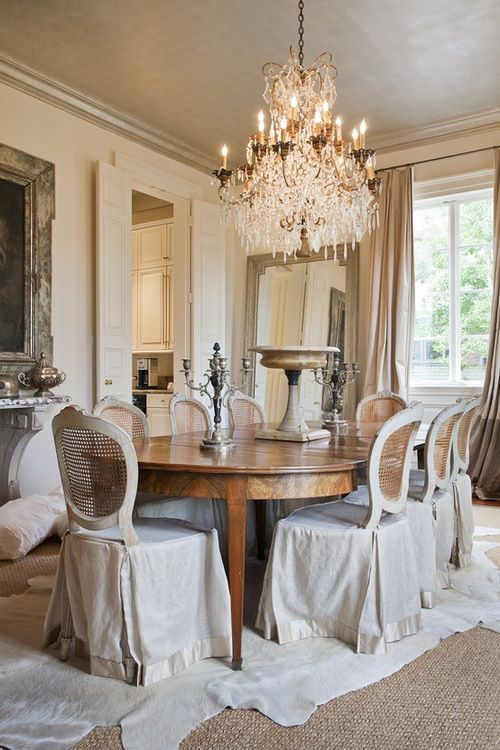 Southern Belle Magazine: Elegant Formal Dining Room...love The Beautiful  Chandelier And Chair Skirts Instead Of Whole Chair Slipcovers.