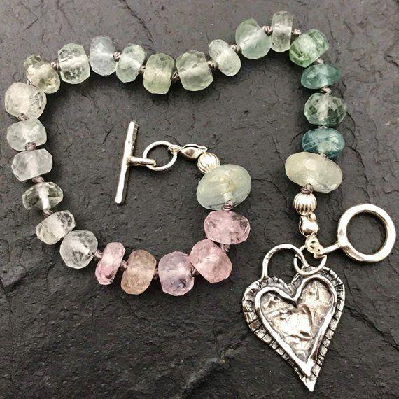 Natural Gemstone cœur coloré Pierres Reiki Chakra Pendentif Charm Perles Bijoux