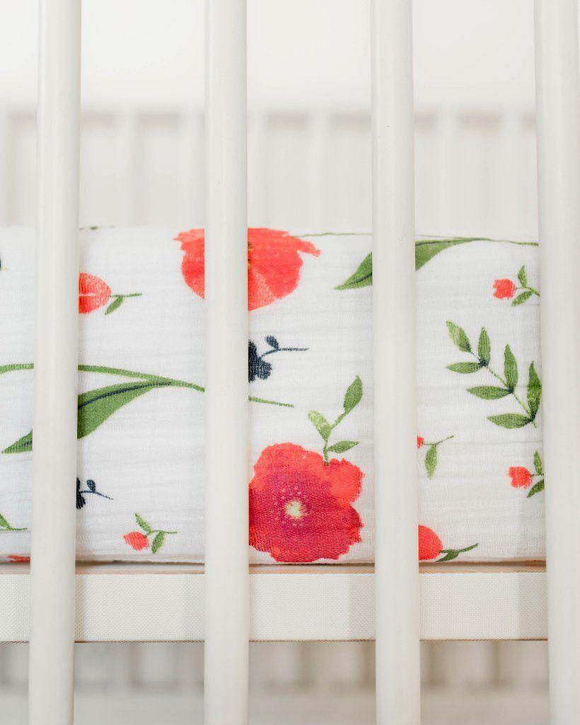 Cotton Muslin Crib Sheet Summer Poppy Baby Products