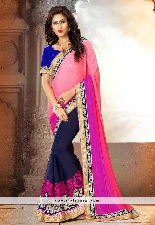 Blue & Pink Color Georgette Designer Saree-60632