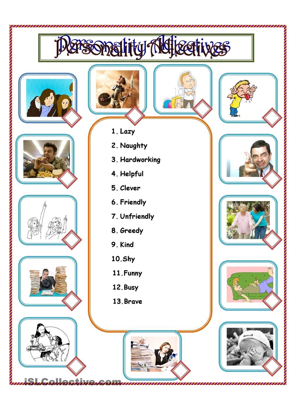 medium resolution of Personality Adjectives   Adjective worksheet