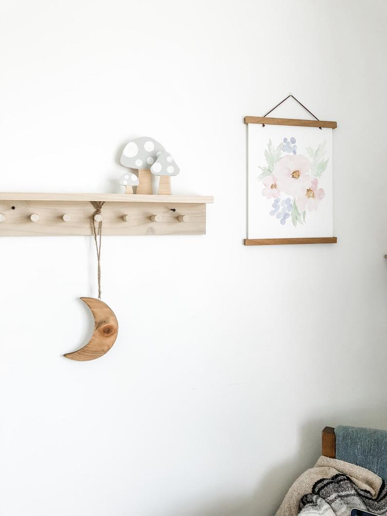 wall coat rack with shelf wooden peg