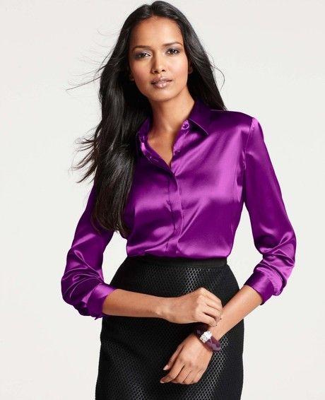 Women S Purple Silk Legacy Button Down Blouse Satin Blouse Satin