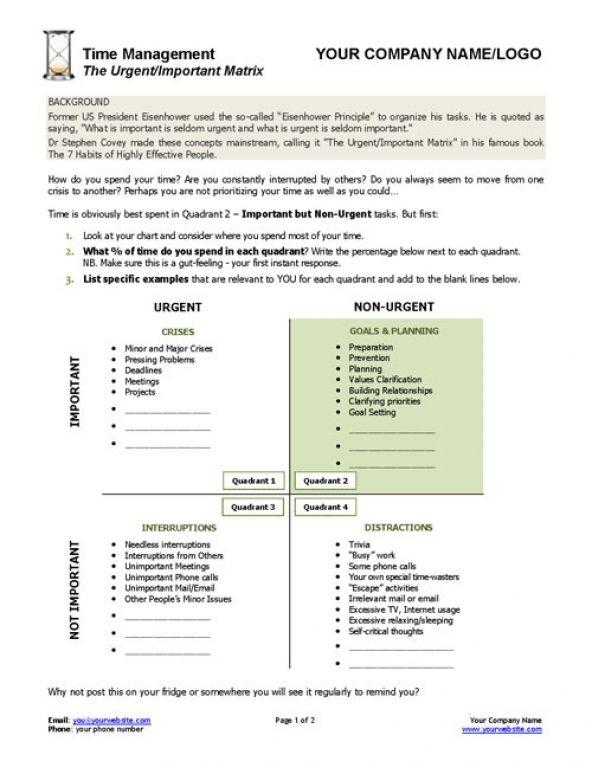 urgent important matrix template and worksheet