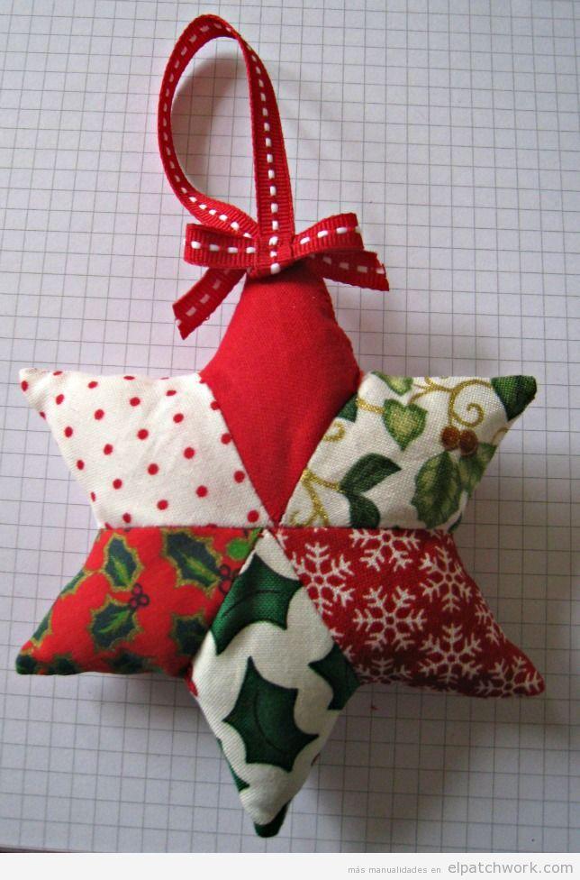 Tutorial adorno Navidad patchwork estrella para rbol patwords