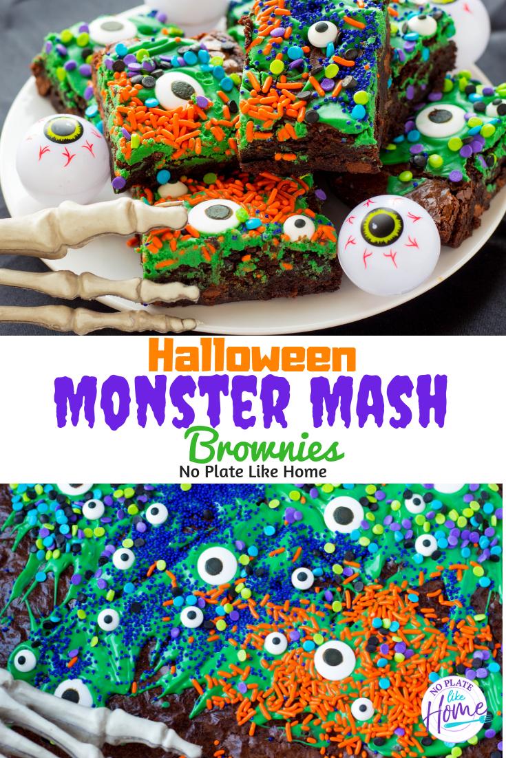 Halloween Monster Mash Brownies #halloweenbrownies