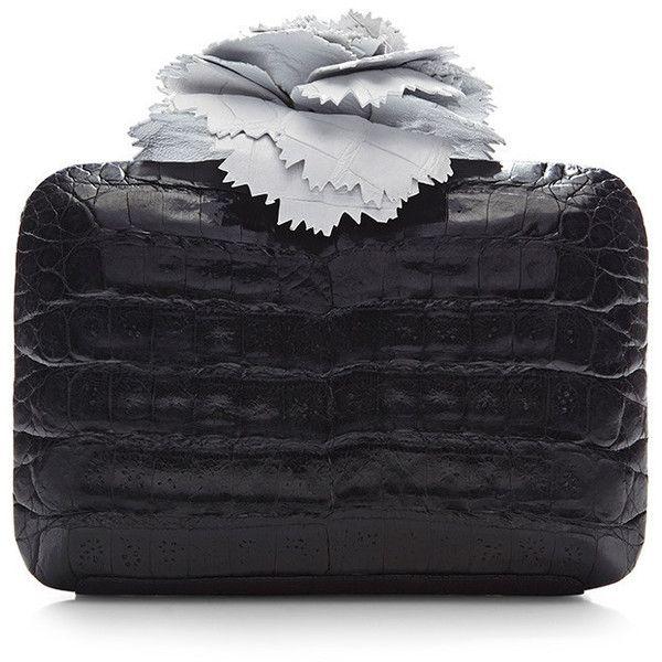 Nancy Gonzalez Monochrome Crocodile Skin Clutch ($2,000) ❤ liked on Polyvore featuring bags, handbags, clutches, black white handbags, flower purse, black white purse, black crocodile purse and crocodile handbag