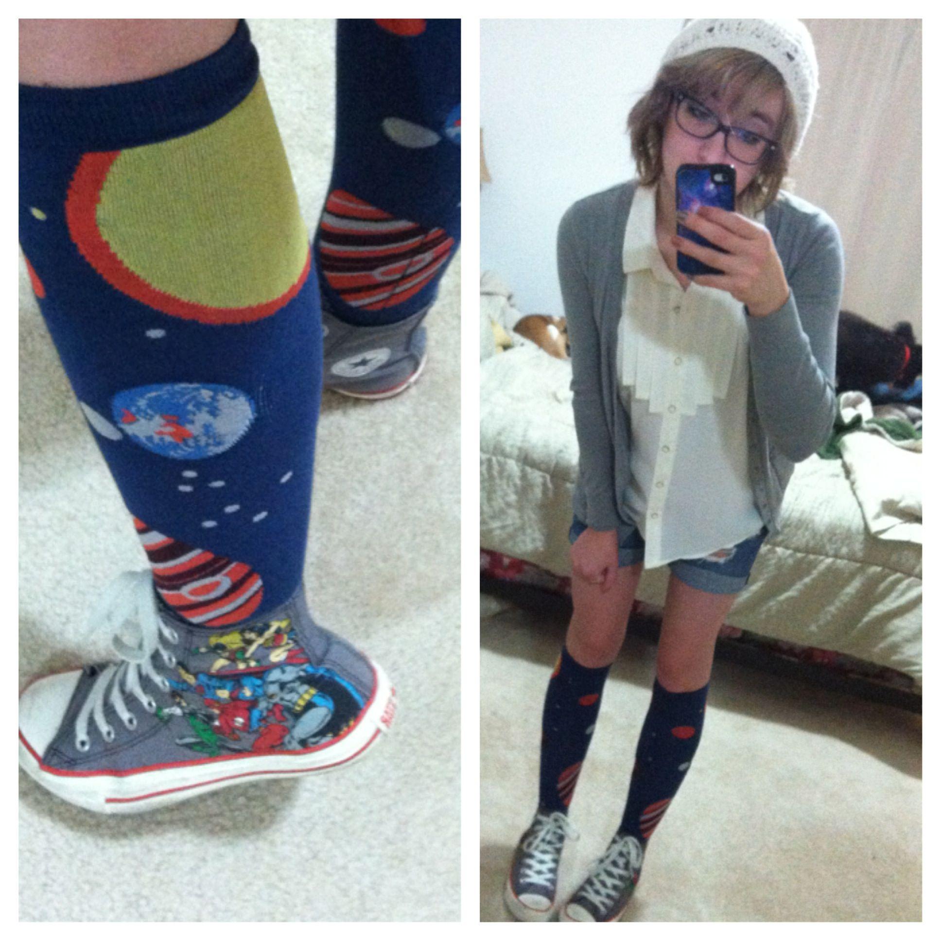 nerd fashionstyle knee high planetary socks solar
