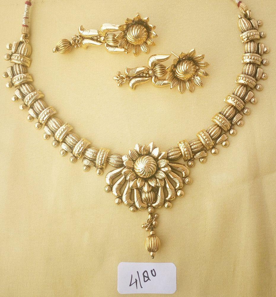 Indian necklace polki set jewelry gold flower bollywood fashion