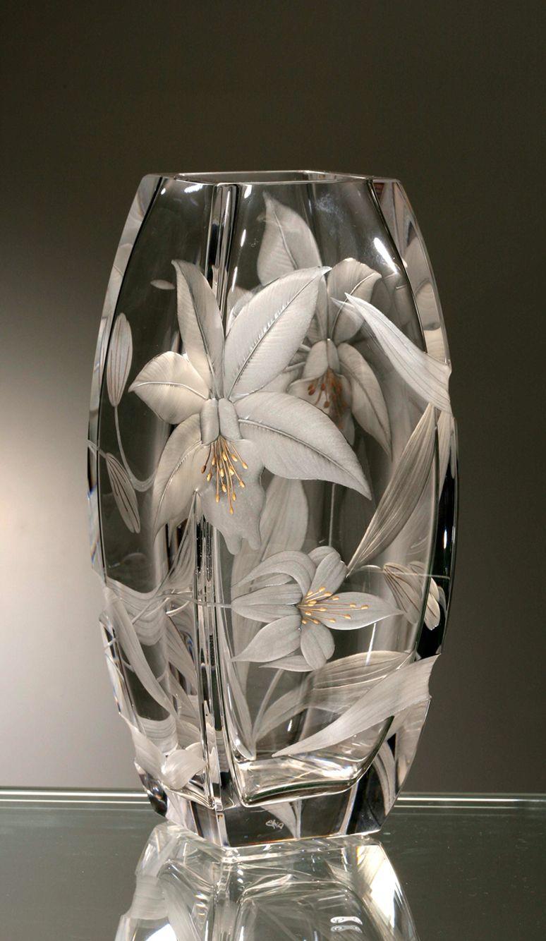 Váza * ručně broušené sklo, český křišťál * Bohemia Crystal CZ ♥ nádherná práce ♥