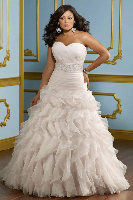 Sweetheart Ruching Ruffled Shirring Princess Wedding Dress Plus Size