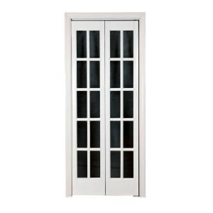 Classic French Glass Wood Universal/Reversible Interior Bi Fold Door 872520    The Home Depot