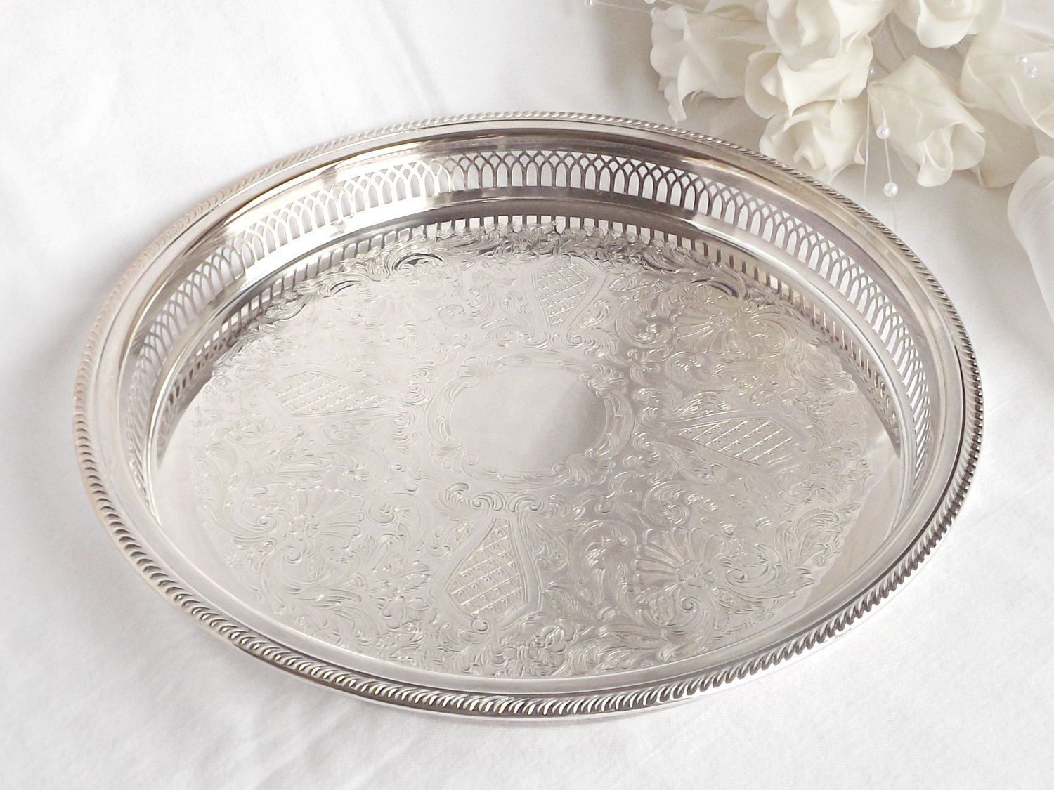 Silver Plated Vanity Tray French Farmhouse Boudoir Decor Wedding Serving