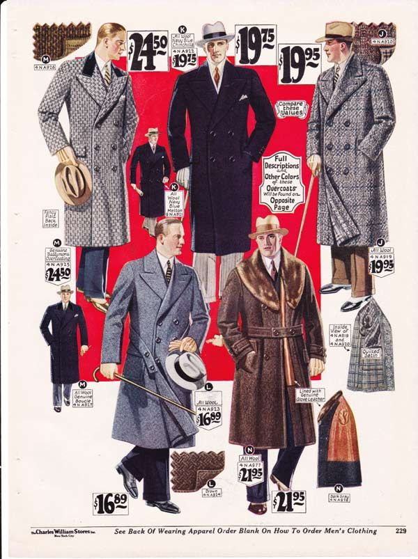 Men S Long Winter Coats From A 1927 Catalog Vintage