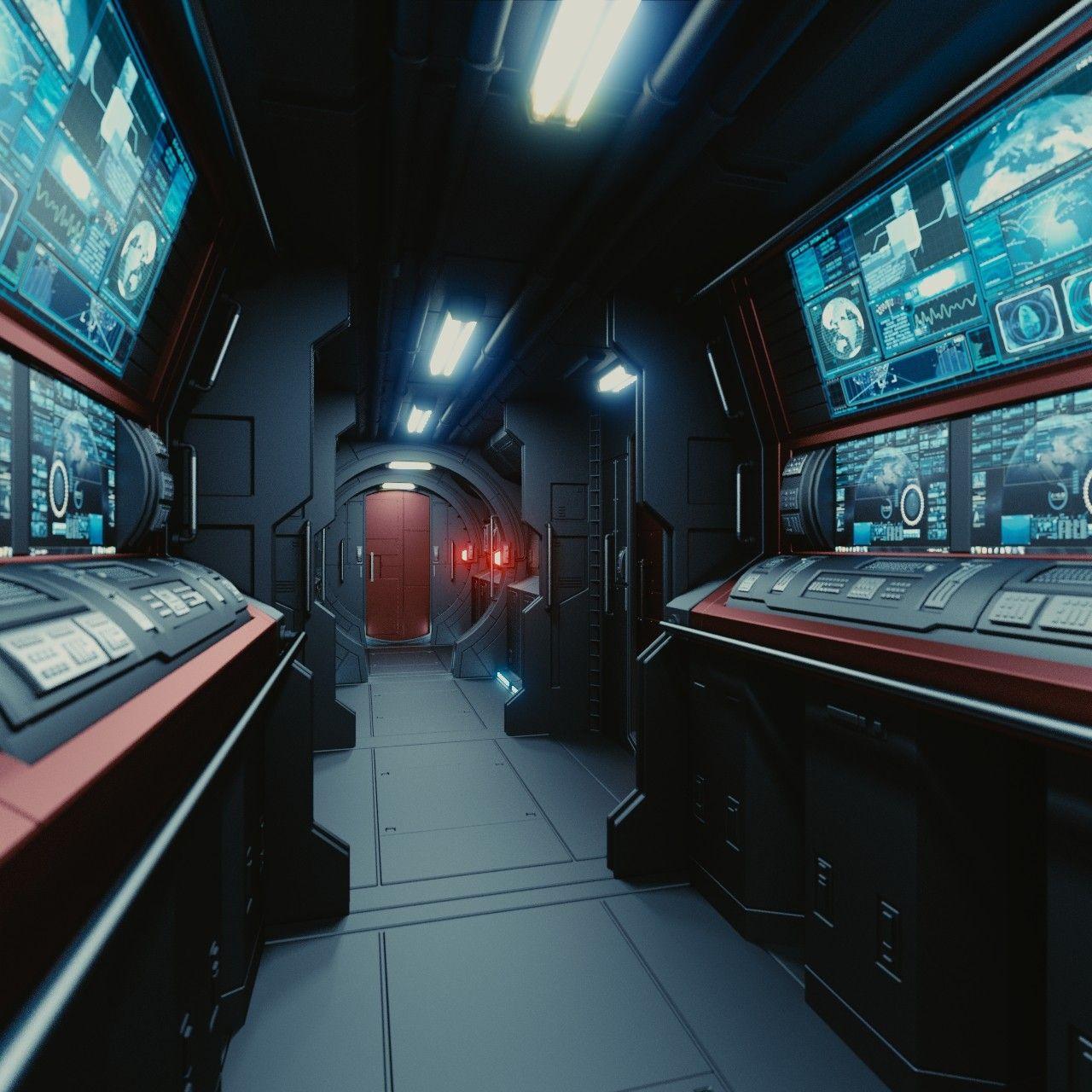 Modern Game Room Design: 3dsmax Interior Spaceship Space Station
