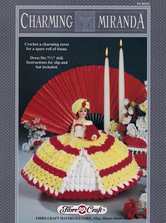 Charming Miranda, Fibre Craft Crochet Doll Clothes Pattern Booklet FCM251 Tissue Roll Cover Home Decor