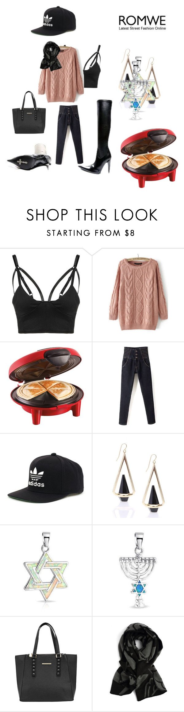 """Romwe sweater contest VII"" by naomig-dix ❤ liked on Polyvore featuring Hamilton Beach, adidas, Bling Jewelry, women's clothing, women, female, woman, misses and juniors"