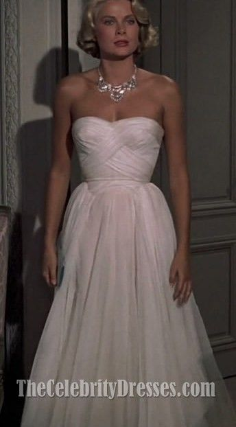 Grace Kelly White Dress to Catch A Thief Celebrity in Movies Dresses