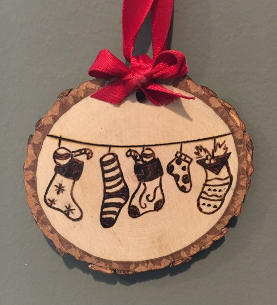 Wood Burned Ornament Stockings By Claireillustration On Etsy Wood Christmas Ornaments Christmas Wood Wood Ornaments