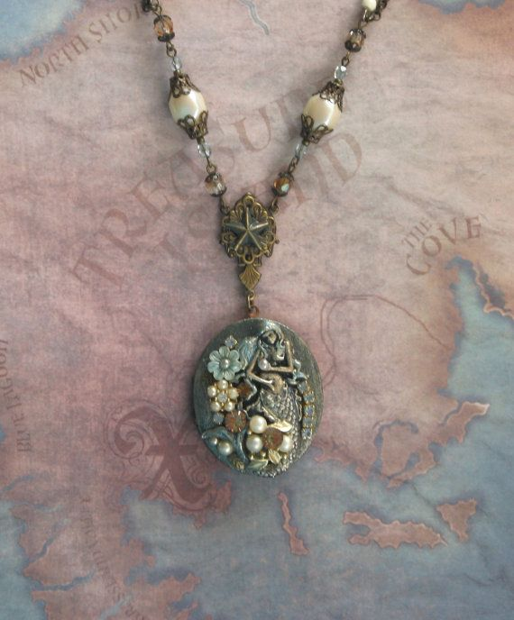 Blue MERMAID - Exquisite Handpainted Signed 1940s brass locket in Robin's Egg Blue, blush and ivory pearl OOAK