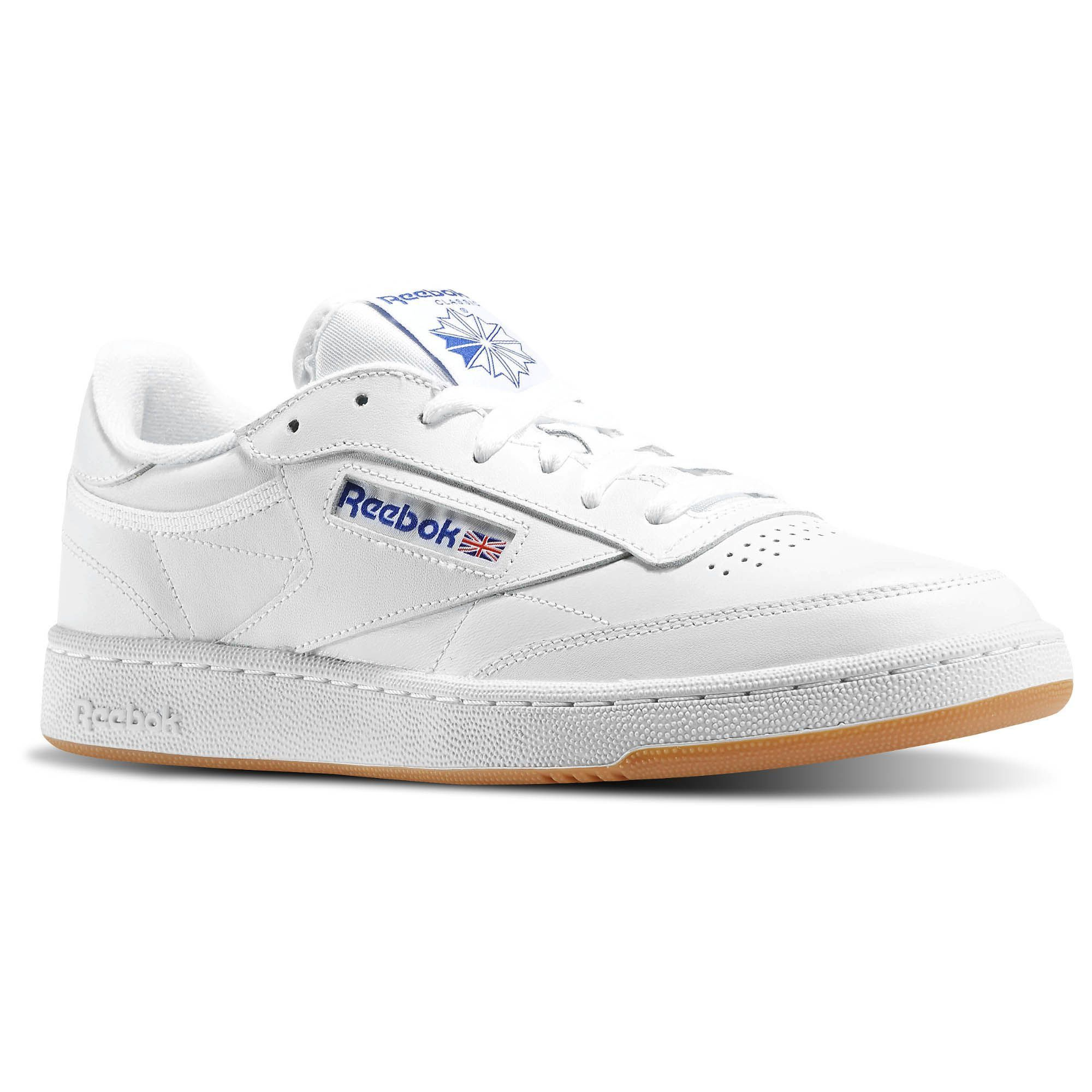 Reebok - Men's Club C 85 Low Leather Sneakers - White/Royal/Gum
