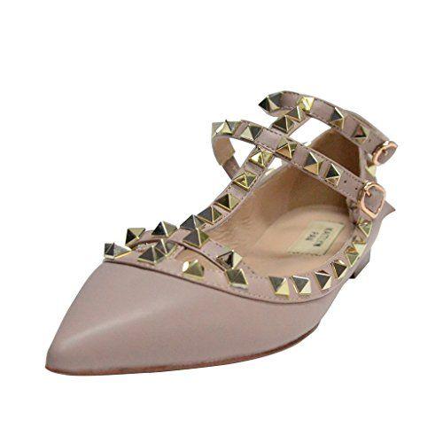 faf57be1834 Kaitlyn Pan RockStud Strappy Ballerina Leather Flats (6US  36EU  36CN