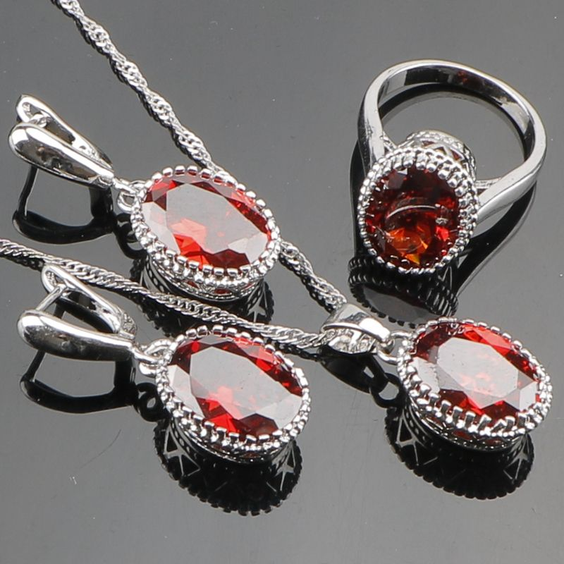 Charming Red Agated 925 Sterling Silver Jewelry Sets For Women Sliver Earrings/Pendant/Necklace/Rings Fine Jewelry