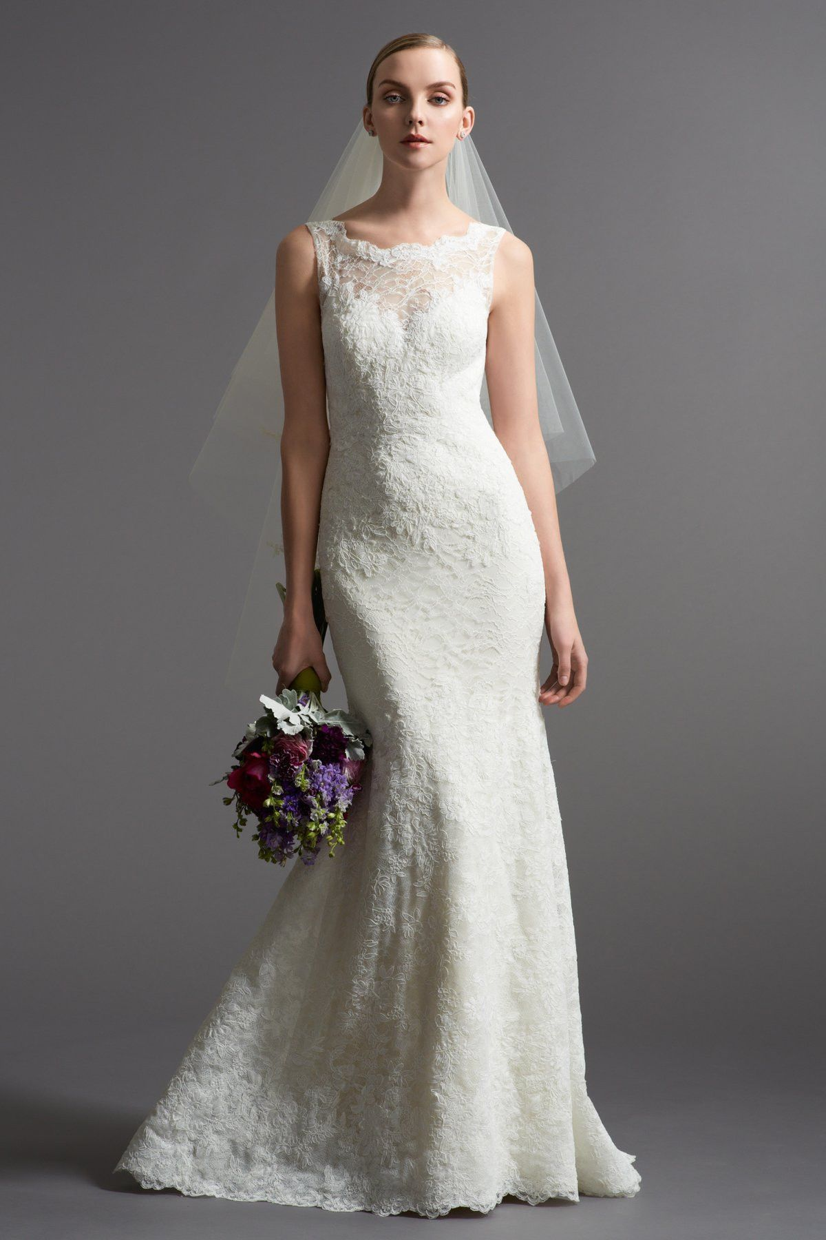 Watters Sophisticated Gown With Vintage And Heritage Lace Over A Silk Charmeuse