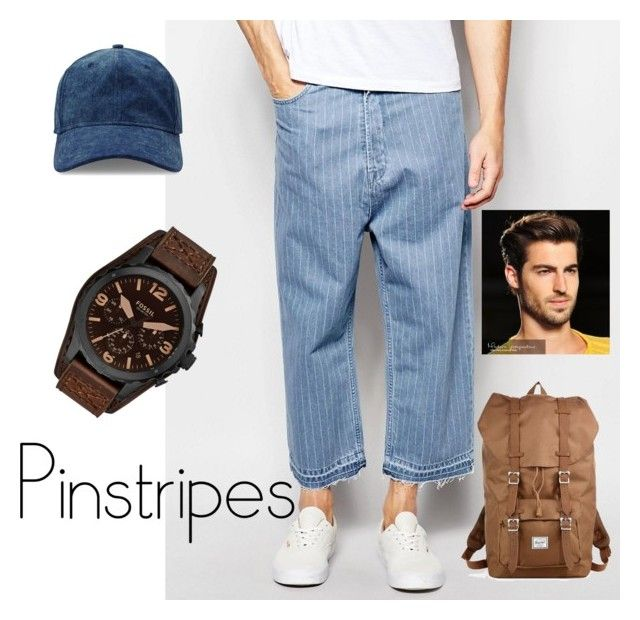 """URBAN PINSTRIPES"" by greenacres1124 ❤ liked on Polyvore featuring ASOS, Gents, FOSSIL, Herschel Supply Co., men's fashion, menswear and pinstripes"