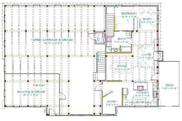 Living quarters to download 40 x 60 pole barn with living for Metal barn with living quarters floor plans