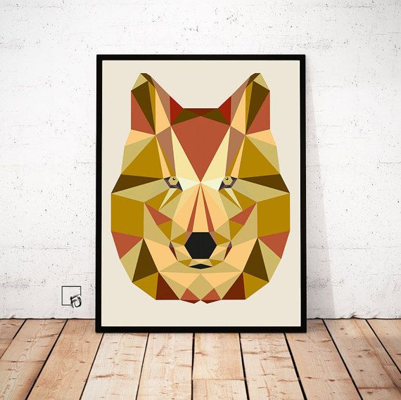 Wolf Print Wolf Low Poly Wolf Wall Art Animal Wall Art Gold Wall Art ...