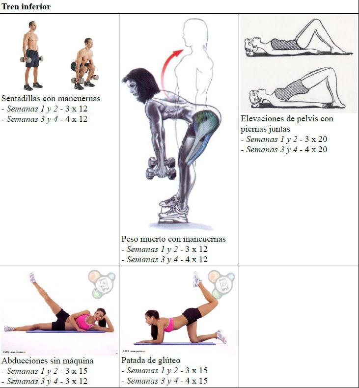 Rutina de entrenamiento de 4 5 d as semanales para mujeres que empiezan en el mundo del - Plan de entrenamiento en casa ...