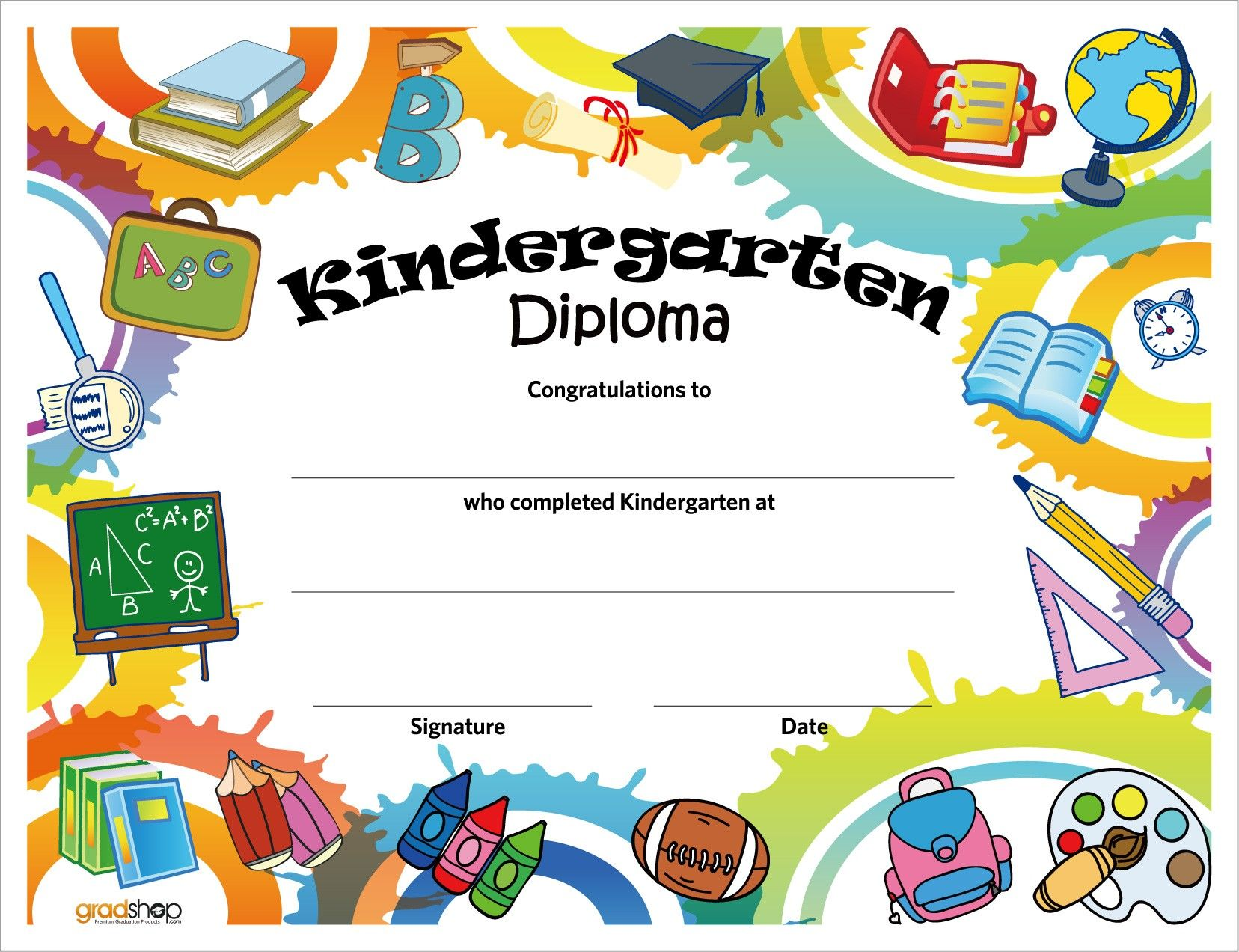 Refreshing image for kindergarten diploma printable