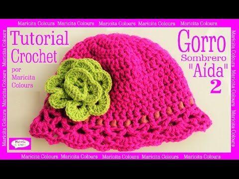 """Gorro Sombrero a Crochet """"Aída"""" (1) por Maricita Colours Tutorial Gratis - YouTube"""