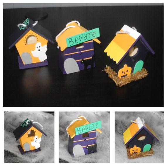Set of 3 painted Halloween Birdhouses, cute Halloween decor, Jack o