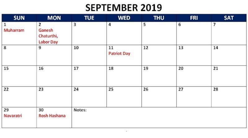 September 2019 Calendar Template September Calendar Holiday