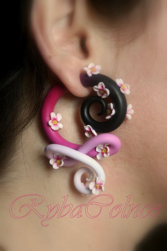 Stretched Ears Rose Gold Spiral Gauged Earrings Polymer Clay Earrings Handmade Clay Jewelry Gauges Plugs Tapers Rose Gold Earrings
