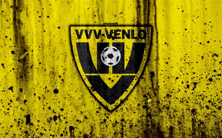 Lataa kuva FC Venlo, 4k, Eredivisie, grunge, logo, jalkapallo, football club, Alankomaat, Venlo, art, kivi rakenne, Venlo FC