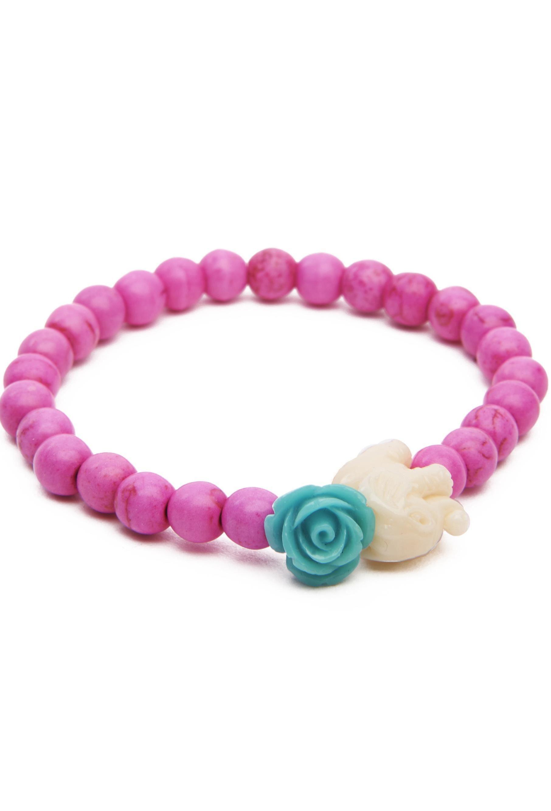 Pink Elephant Bead Bracelet