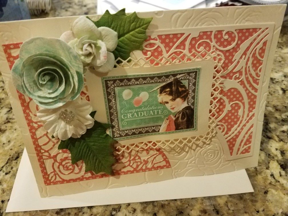 Graphic 45 paper, Scrapbooking Made Simple dies and Prima flower