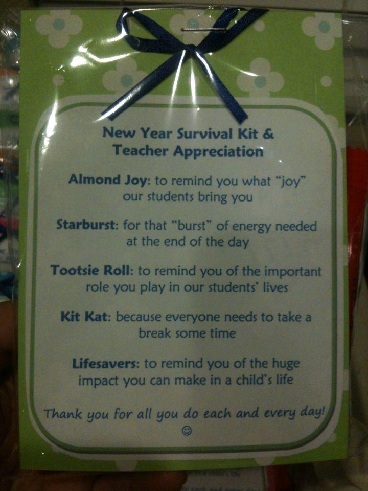 Teacher appreciation and survival kit #eceappreciationgiftideas