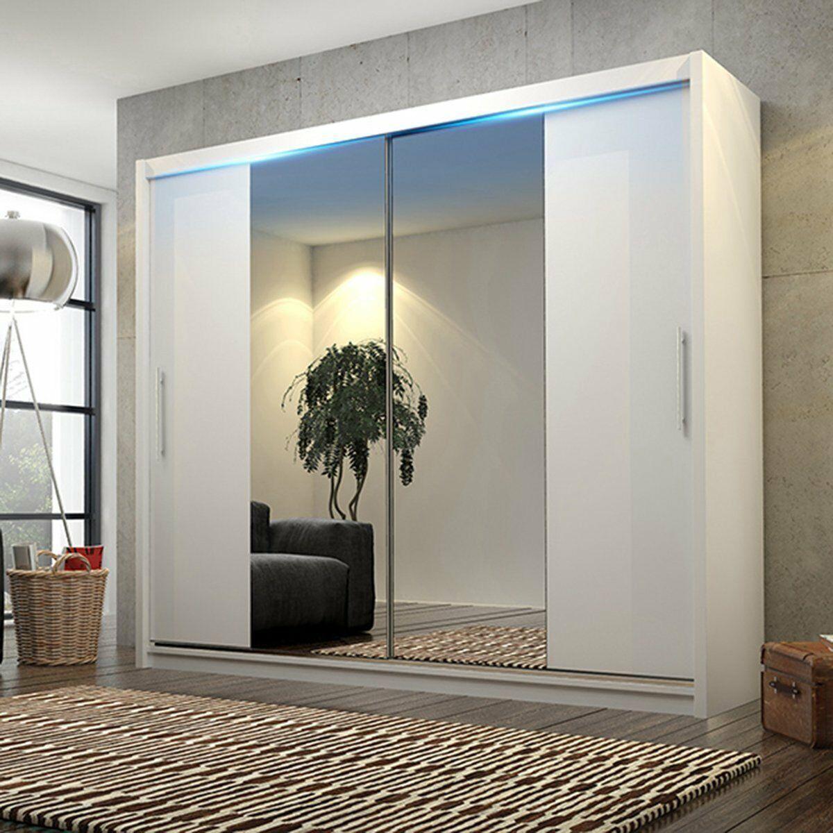 Big Stylish Sliding Wardrobe 204cm Big Mirrors Led Many Colours Ebay White Sliding Door Wardrobe Big Mirror Sliding Doors