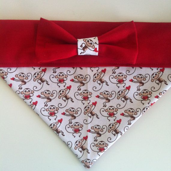 Dog Bandana Valentines Day Print With Bow Bandanas